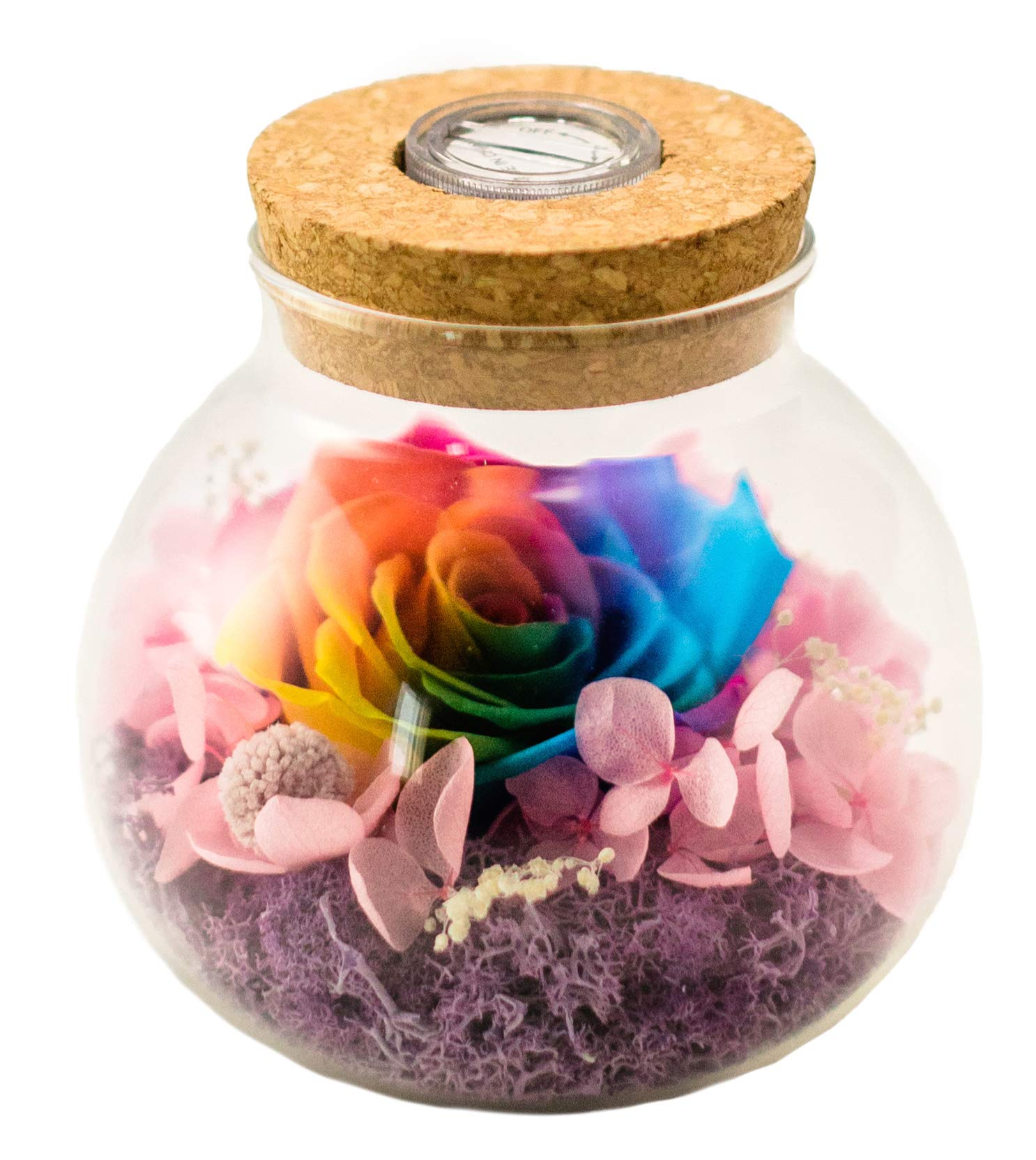 silk flower arrangements lilymelon handmade forever flower, preserved eternal real rose with led mood light for mother's day,birthday, anniversary, valentine's day, christmas (rainbow)
