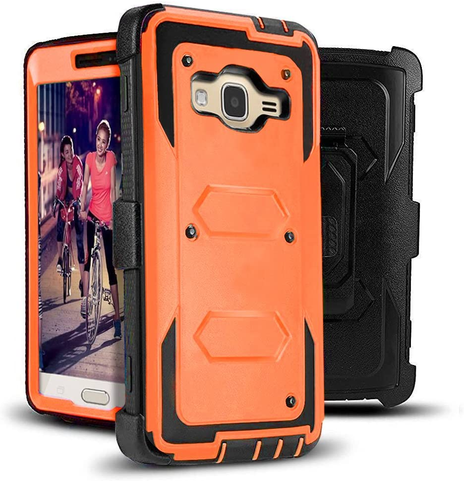 J.west Galaxy J3 Case, J3 (2016) Case, Hard Shock Absorption Full Body Rugged Hybrid Stand Holster Belt Clip Defender Phone Cover for J3, J3 (2016), J3 V, Express Prime, Amp Prime, Galaxy Sky Orange