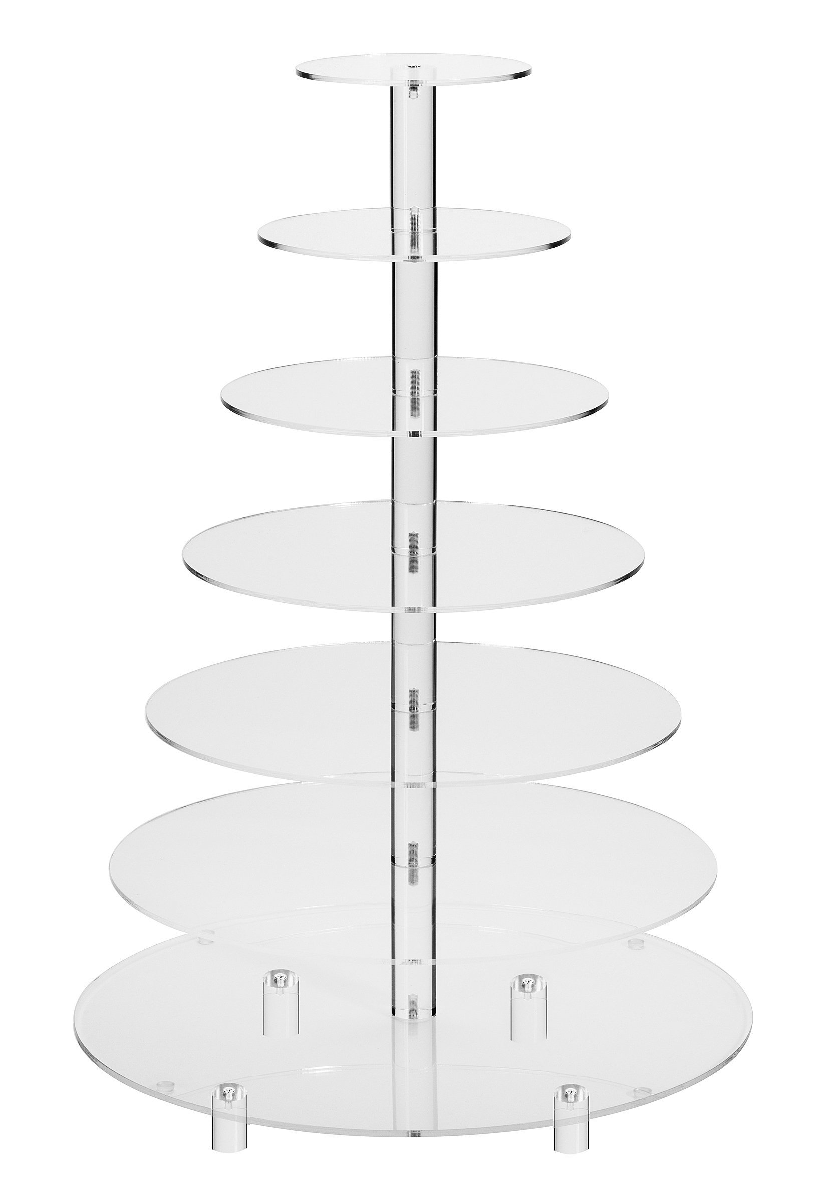 Jusalpha 7 Tier Round Acrylic Glass Cupcake Stand-cake stand-dessert stand, cupcake Tower 7 Tier With Base (7RF-Small) by Jusalpha