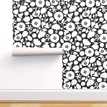 Spoonflower Peel And Stick Removable Wallpaper Black And White Floral Mod Flower Flowers Folk Botanical Retro Print Self Adhesive Wallpaper 12in X 24in Test Swatch Amazon Com