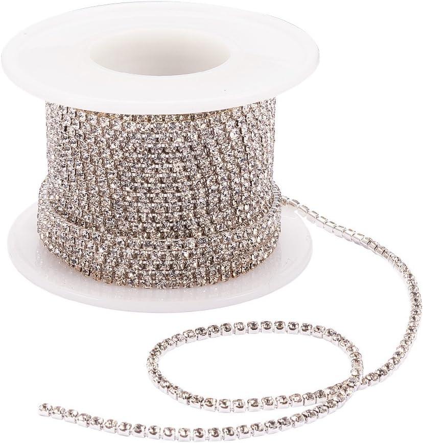 Silver Bottom Amethyst BENECREAT 10 Yard 2mm Crystal Rhinestone Close Chain Clear Trimming Claw Chain Sewing Craft about 2880pcs Rhinestones