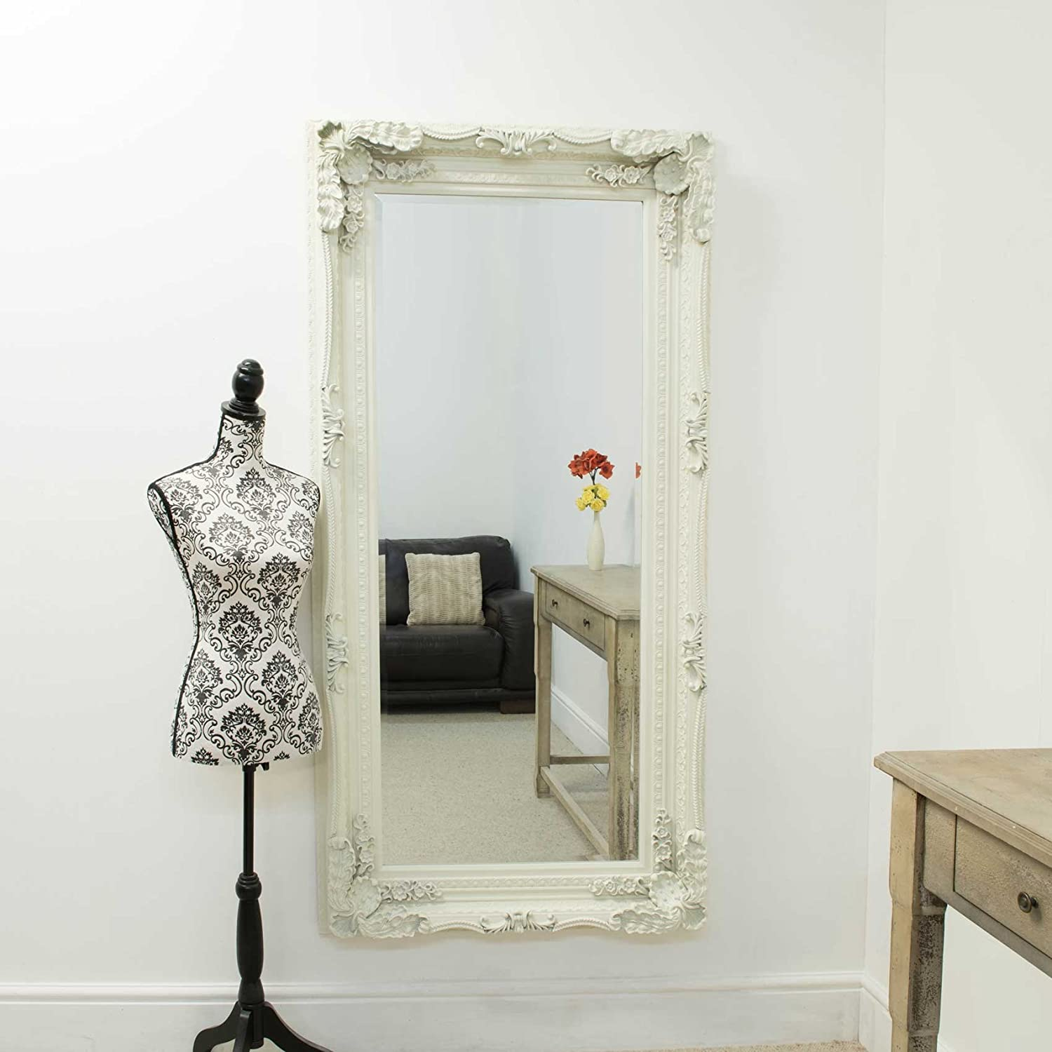 Ivory White Large French Elaborate Wall Mirror 6ft x 3ft Full Length Dressing Mirror