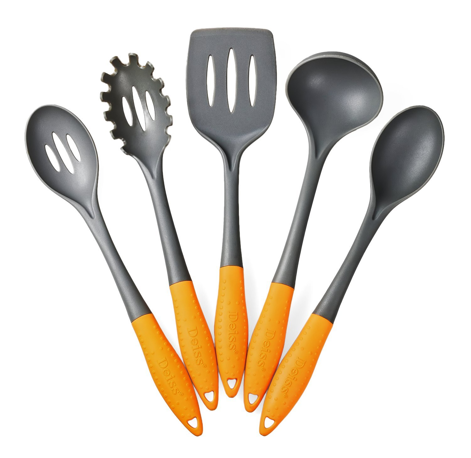 Deiss ART 5-piece Nylon Utensil Set — Soup Ladle, Slotted Turner, Spaghetti Server, Serving Spoon, Slotted Serving Spoon — Safe for Non-stick Cookware — Dishwasher Safe