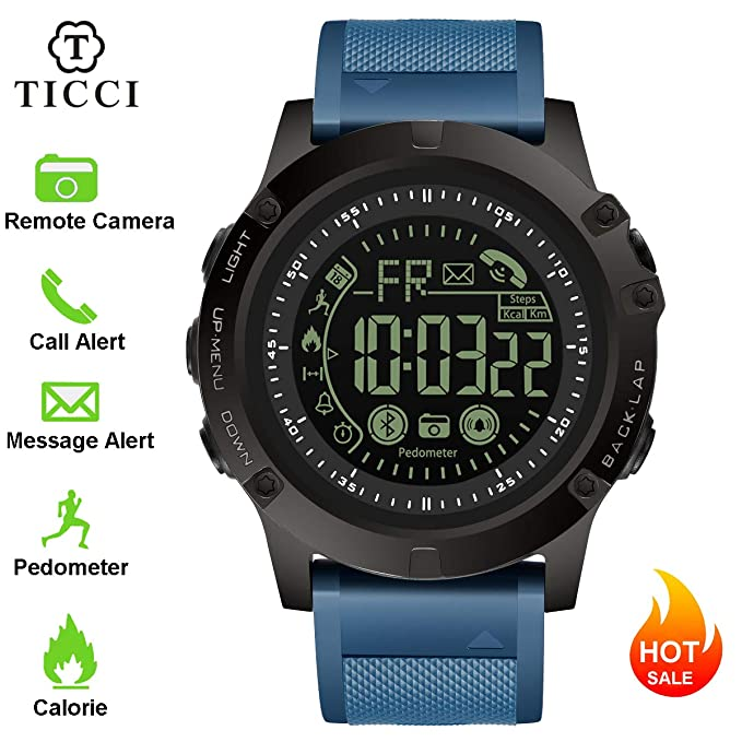 T0003 Electronic Fitness Tracker Digital Sports Bluetooth Smart Watch Waterproof Pedometer Remote Camera Incoming Call or Message Alert Reminder for ...