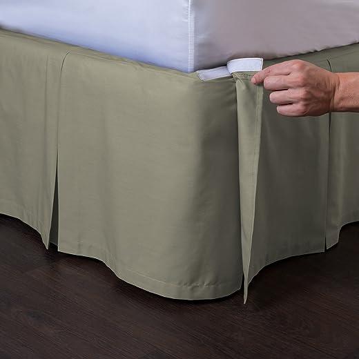 مفرش سرير Ashton القابل للفصل من ShopBedding (مقاس كوين، لون رمادي داكن، مقاس 53.34 سم) - تنورة سرير بطيات سهلة الارتداء والخلع