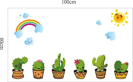 Wangdazhan Personalidad Pegatinas De Pared Tatuaje Cactus Creativo ...