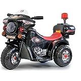 Toyas Elektro Kinder Motorrad Kinderfahrzeug Polizei Elektromotorrad LQ998 Schwarz