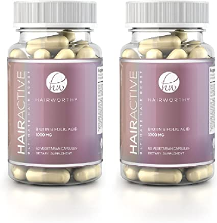 Hairworthy Fastest Acting Hair Growth Vitamins 100 Natural Supplement For Longer Fuller Thicker Hair Reduce Hair Loss Promote Hair Regrowth With Biotin Folic Acid For Men Women Amazon Co Uk