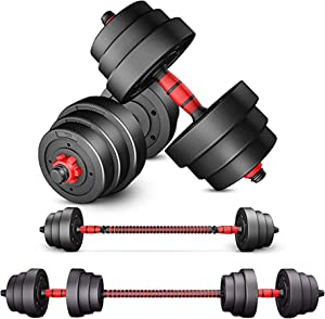 H&N Fashion Adjustable Dumbbells Set 44lbs (2x22 lbs) Barbell for Home Fitness Weight Set Gym Workout Exercise Training with Connecting Rod