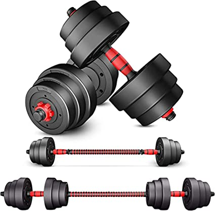 New 44 LB Total Adjustable Concrete Dumbbell Barbell Weight Set Free Shipping