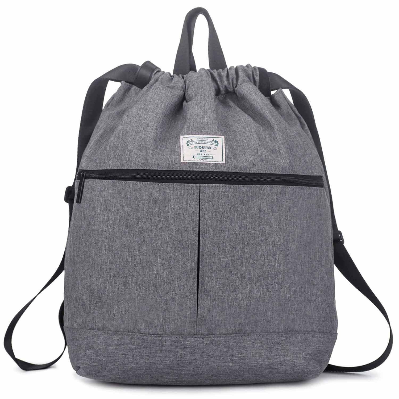 G-raphy Waterproof Drawstring Gym Backpack Sport Bag Lightweight Sackpack Gymsack for Men and Women (Light Gray)