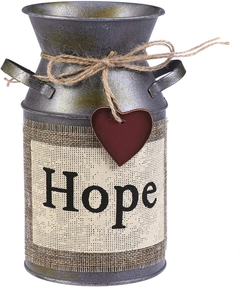 VOSAREA Rustic Decorative Vase with Greetings and Rope Design Metal Milk Can Country Jug for Living Room, Bedroom, Kitchen (Hope)