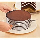 "CAKITCHEN Adjustable 9""-12"" Stainless Steel Layer Cake Slicer Mousse Mould Slicing Cake"