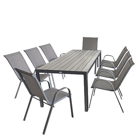 9 pièces salon de jardin table de jardin aluminium Polywood ...