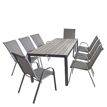 9 pièces salon de jardin table de jardin aluminium Polywood gris ...
