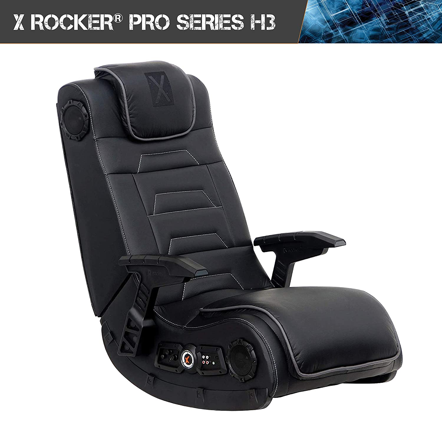 Groovy X Rocker Pro Series H3 Black Leather Vibrating Floor Video Gaming Chair With Headrest For Adult Teen And Kid Gamers 4 1 High Tech Audio And Evergreenethics Interior Chair Design Evergreenethicsorg