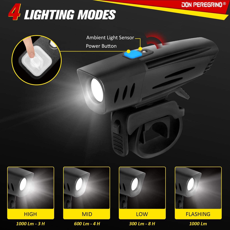 1000 Lumens LED /Éclairage Avant V/élo Puissant avec Capteur DONPEREGRINO F1
