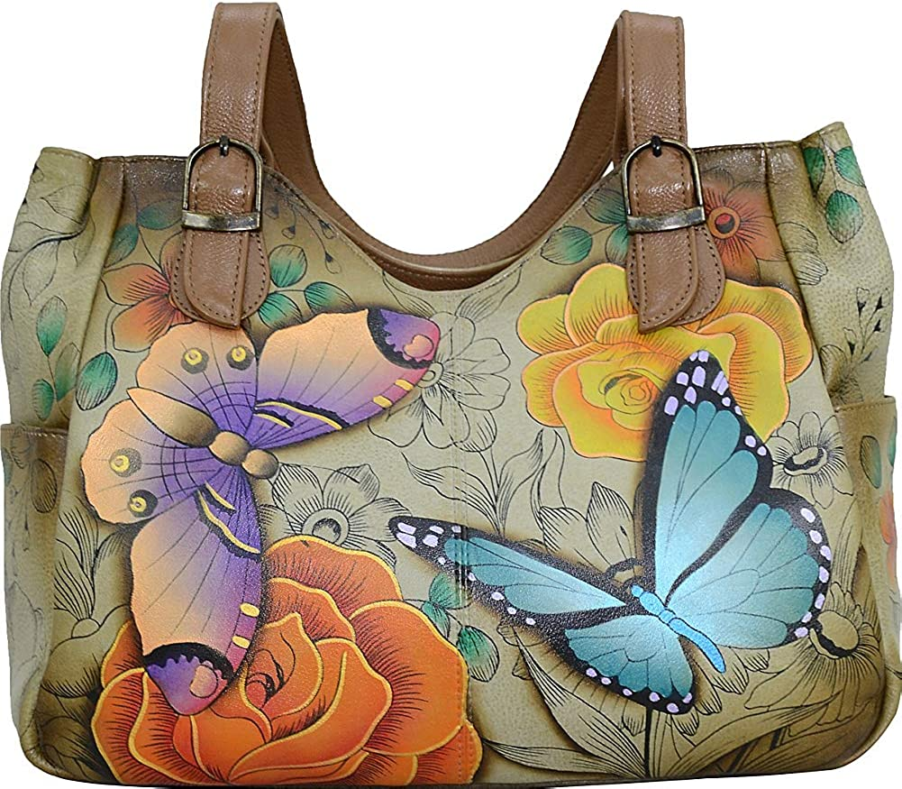 Anna by Anuschka Women's Genuine Leather Shoulder Bag | Hand-Painted Original Artwork