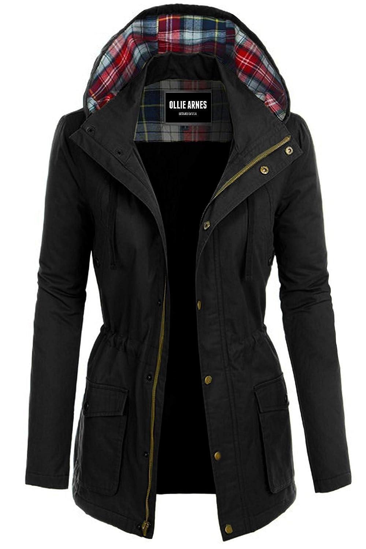552_black OLLIE ARNES Women's Versatile Utilitarian Warm Anorak Drawstring Parka Jacket