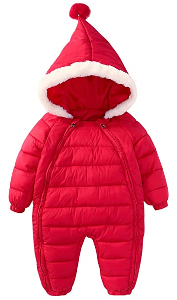e644174fb Infant Baby Winter Hoody Romper Down Padding Double Zipper Jumpsuit Onesies  Playsuit Warm Coat 6-