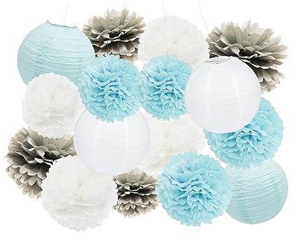 Amazon Com Birthday Party Decorations Furuix 16 Pcs White Blue Grey