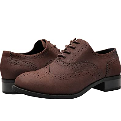 4eaf068144 Aukusor Women's Wide Width Brogue Oxfords - Classic Lace up Low Heel Urban  Formal Oxford Shoes.
