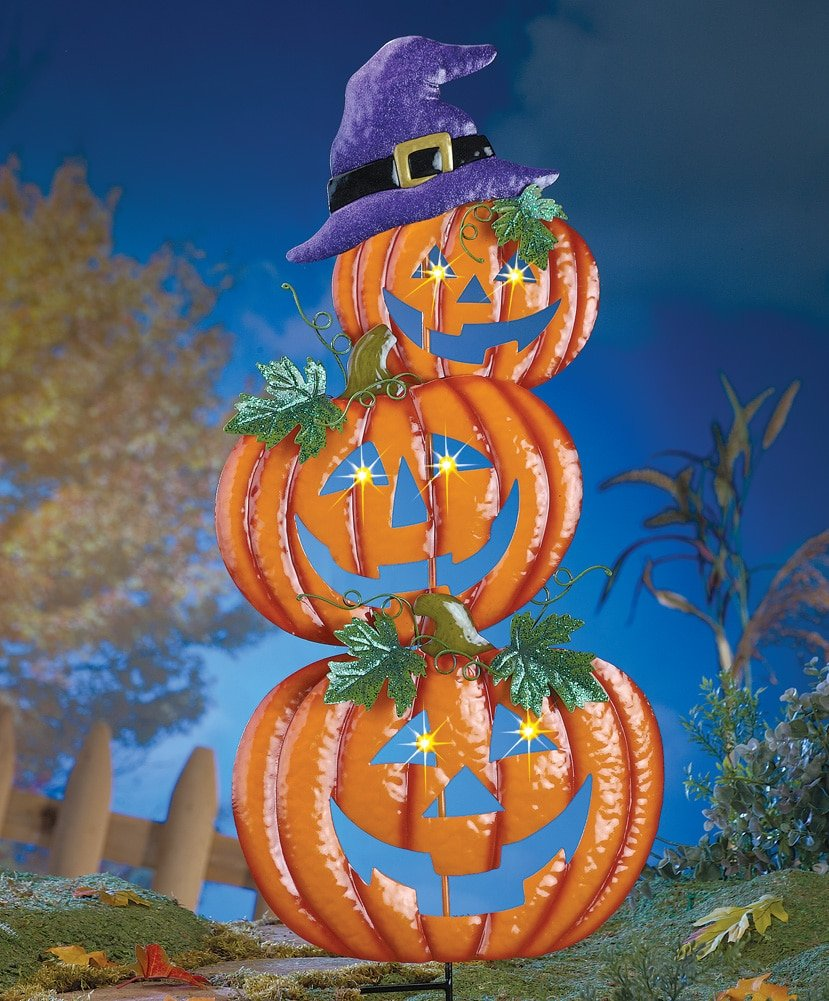 amazon com stacked halloween jack o lanterns with witch hat