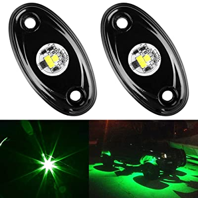 Amak 2 Pods LED Rock Lights Kit Green Underbody Glow Trail Rig Light Waterproof Underglow LED Neon Lights for JEEP Off Road Trucks Car ATV SUV Vehicle Boat - Green: Automotive