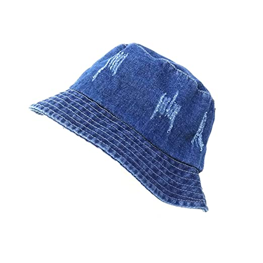 Womens Denim-Bucket-Washed-Cotton Hat Distressed - Packable Sun ... 936b367a096