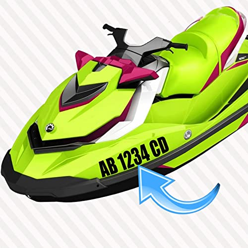 Jet ski registration numbers letters set of two 2x decal hull id vinyl sticker