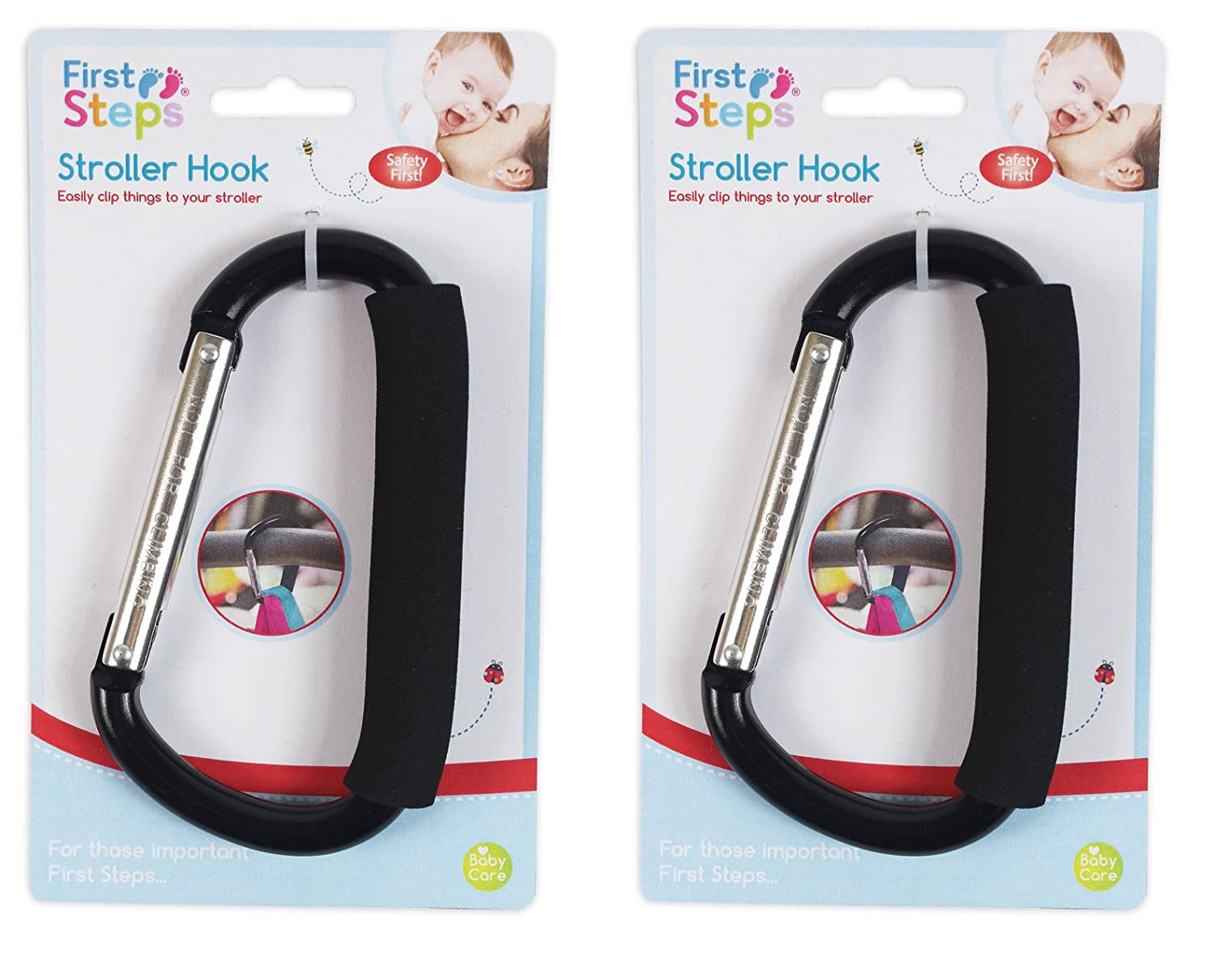 2 PACK BUGGY CLIPS LARGE PRAM PUSHCHAIR SHOPPING BAG HOOKS MUMMY CARRY CLIP UK