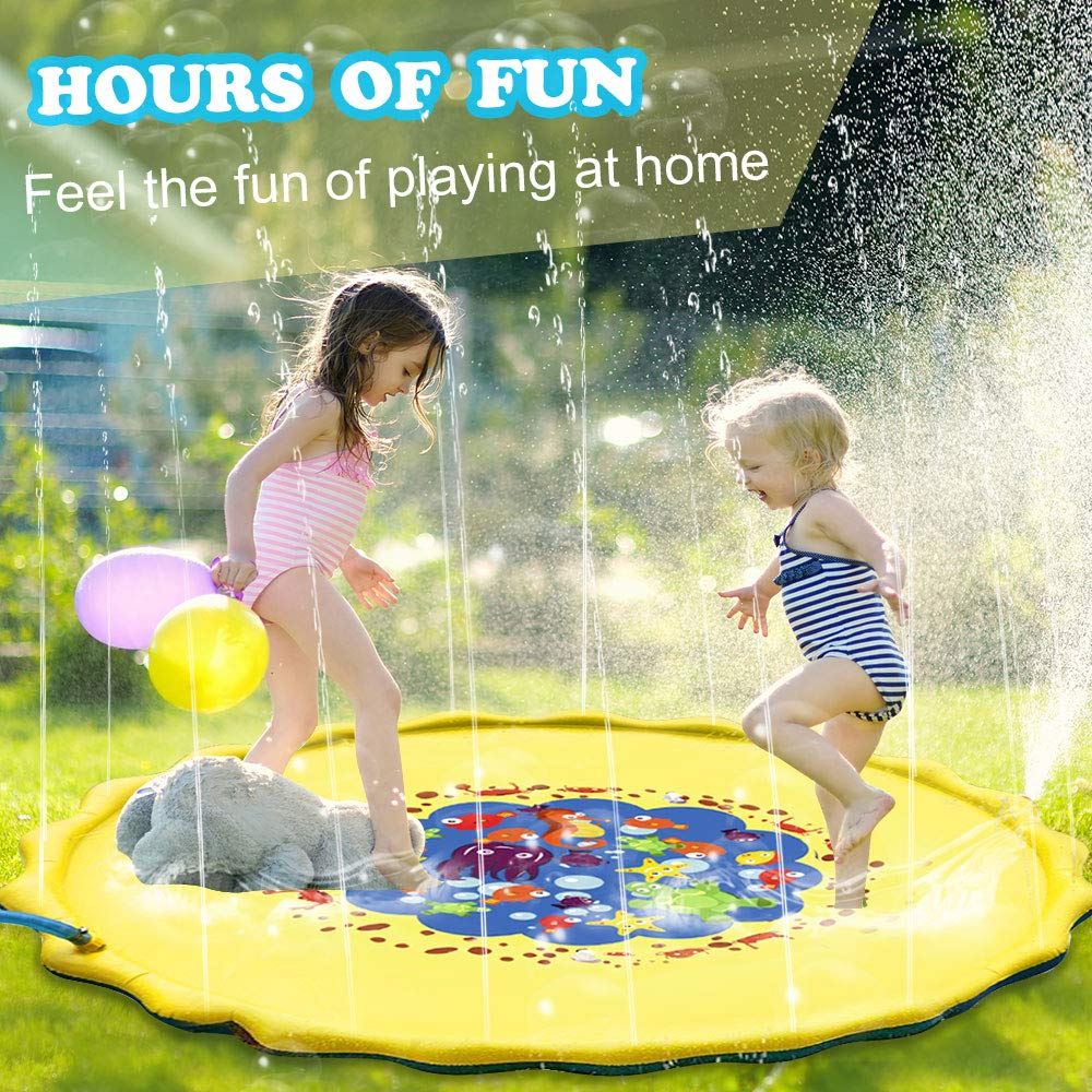 Candywe Splash Pad Kids Toys, 68'' Sprinkle and Splash Play Mat Pad Toy for Children Infants Toddlers Boys Girls and Kids,Water Toys for Summer Fun Backyard Water Play Mat Outside Toys for Kids by Candywe (Image #2)