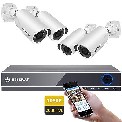 DEFEWAY kit camaras de vigilancia 4ch 1080P CCTV DVR+ 4x1080P camaras de seguridad Visión Nocturna, Android/iOS APP, Detección de Movimiento, Email ...