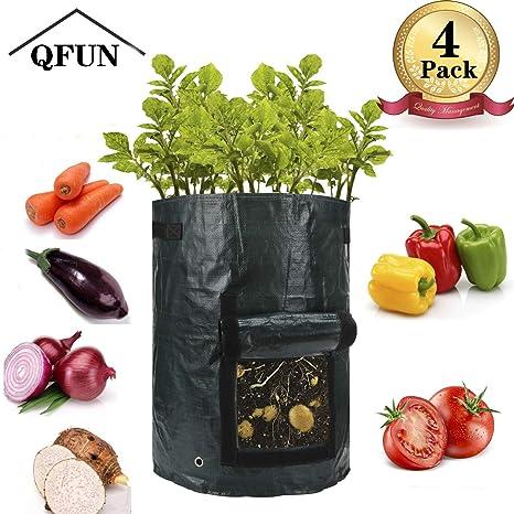QFUN - 4 Bolsas para Plantas Grandes, Bolsas para Plantas ...
