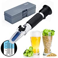 Refractometer, RISEPRO® Home Brewing Alcohol Hydrometer Dual Scale Brix 0~32% Wort SG 1.000~1.120 Specific Gravity Sugar Wine Beer Juice Fruit Grass (Aluminium) RSG-32ATC