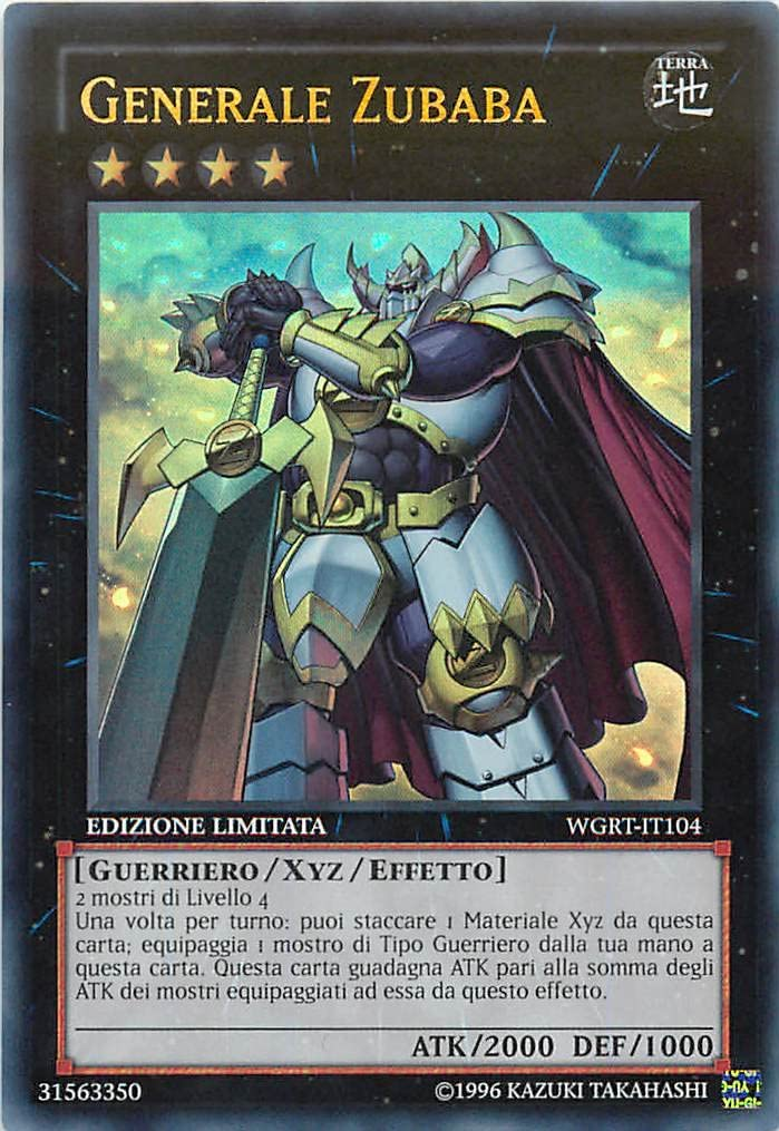 Guerra dei Giganti : I Rinforzi Yu-Gi-Oh! Generale Zubaba Ultra Rara Limited Edition WGRT-IT104