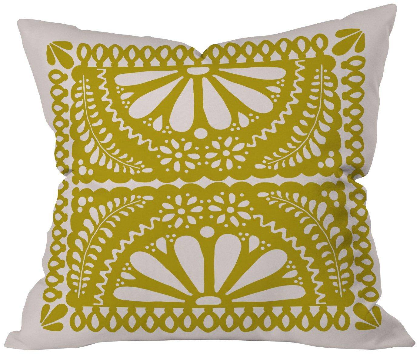 20 x 20 Deny Designs Natalie Baca Fiesta De Flores In Olive Throw Pillow