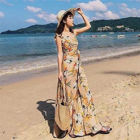 ZBYHCH Vestido de Fiesta sin Espalda Elegante con Falda de Playa ...