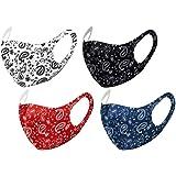 Unisex Paisley Bandana Mouth Face Protective Covering Fashion Balaclavas Fabric Washable Reusable Breathable (1, Black, Blue, Red & White (Set of 4))