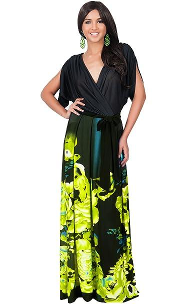 b98a18254c7f KOH KOH Petite Womens Long V-Neck Short Sleeve Floral Print Elegant  Flattering Flowy Formal