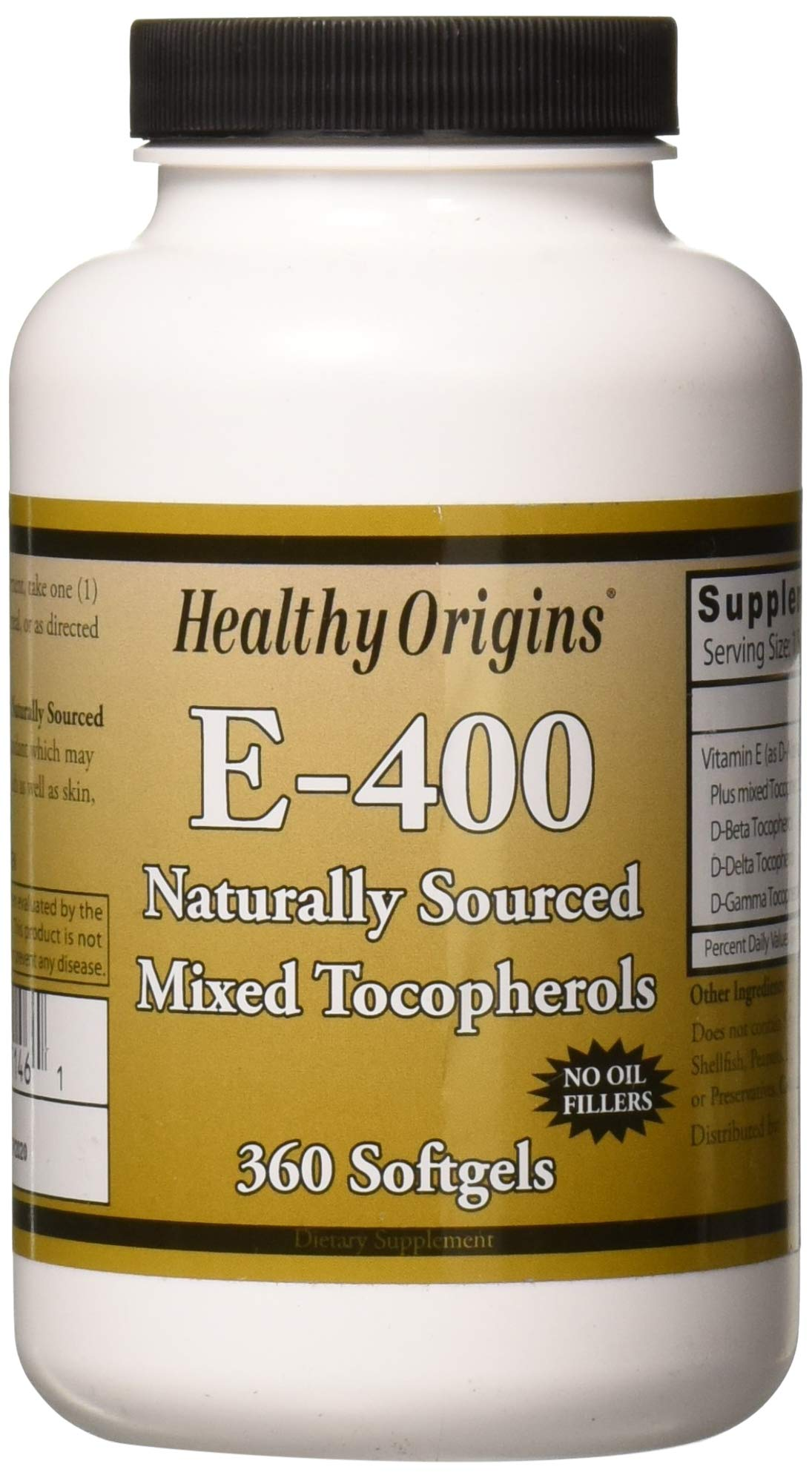 Healthy Origins Vitamin E - 400 LU Natural Mixed Toco Gels, 360 Count