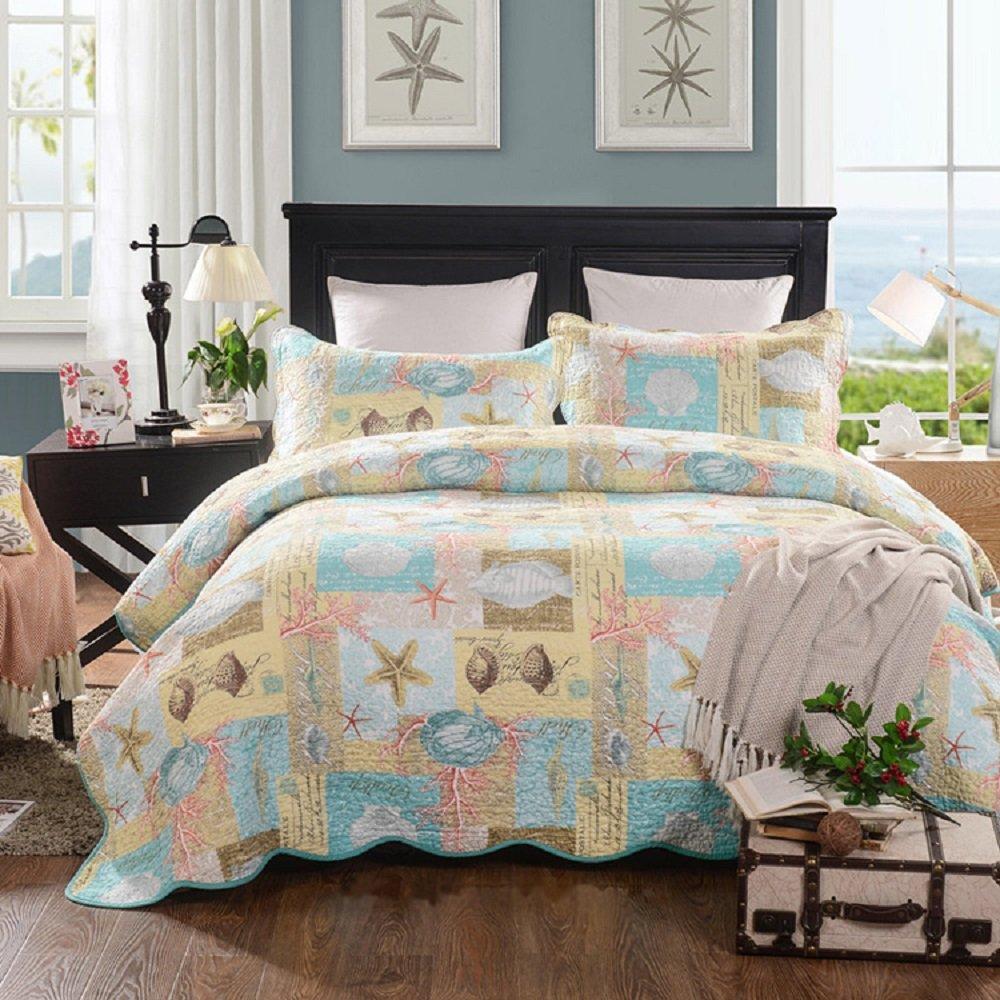 YOUSA Beach Theme Quilts 100% Cotton Comforter Shells Quilt Set