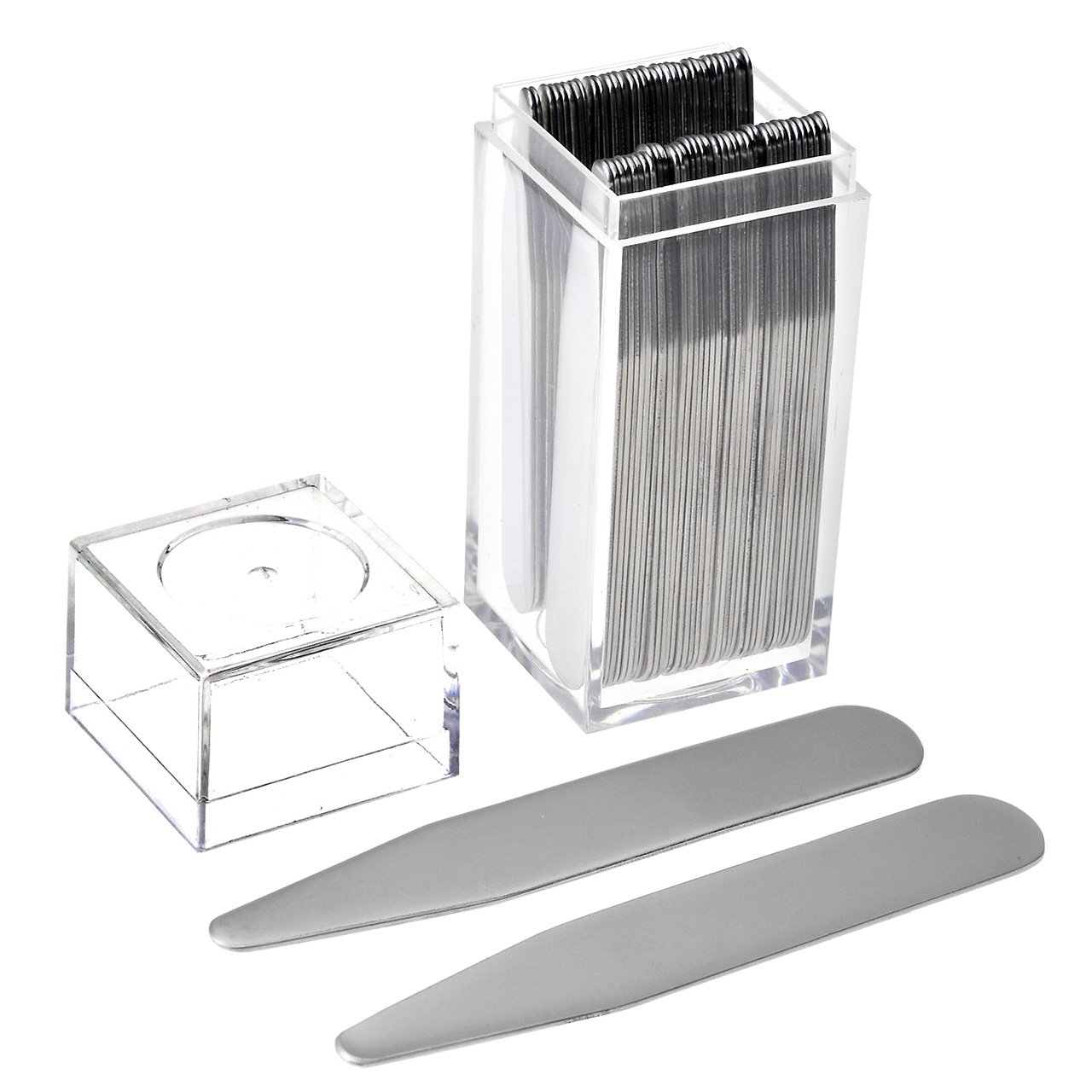 JOVIVI 36pc Stainless Steel Collar Stays in Clear Plastic Box For Mens Dress Shirt, Order the Sizes You Need (2.5'')