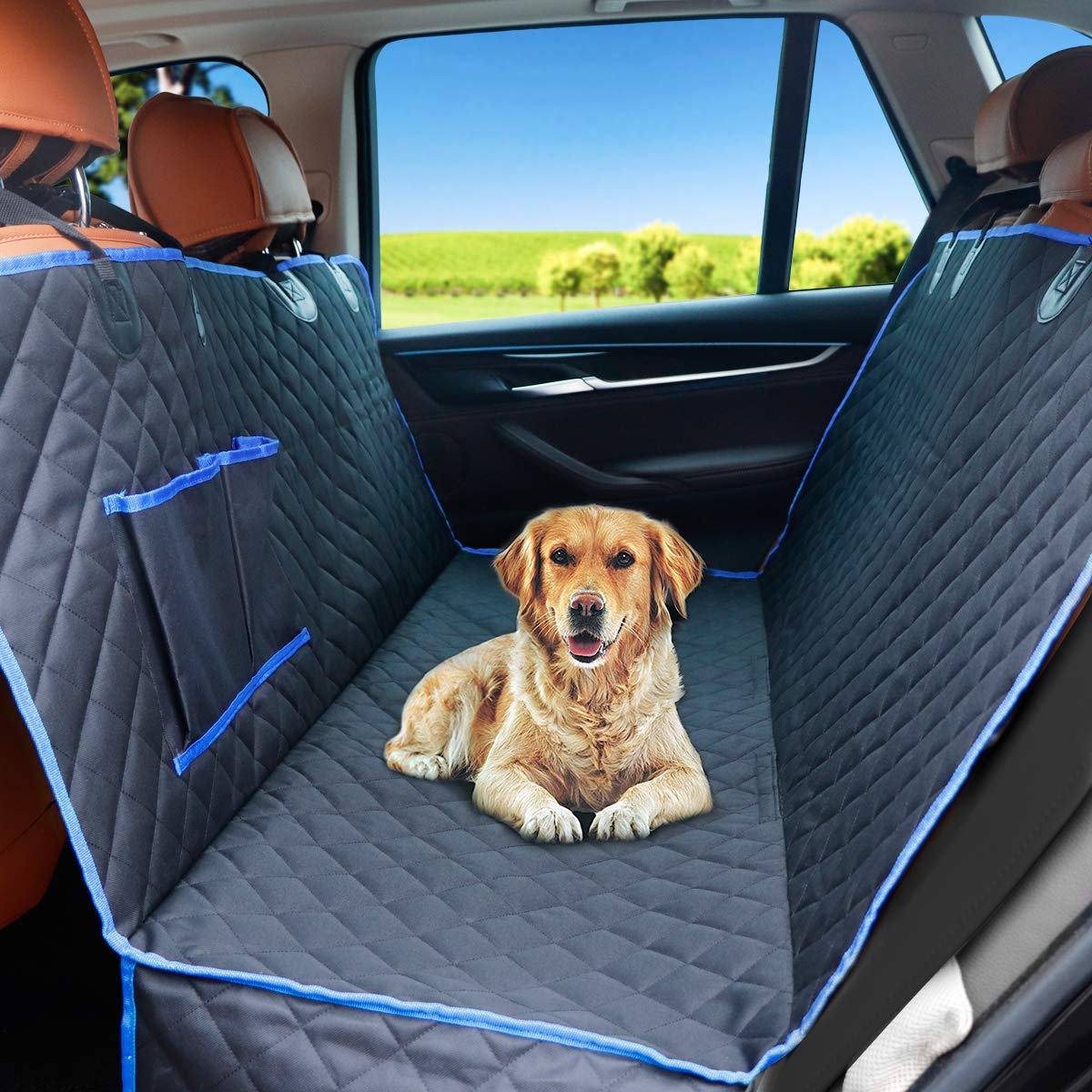 CRAZYLYNX Dog Car Seat Cover Waterproof Scratch Proof Non-slip Back//blue Seat Pet Protection Dog Travel Hammock 148cm X 138cm for All Cars