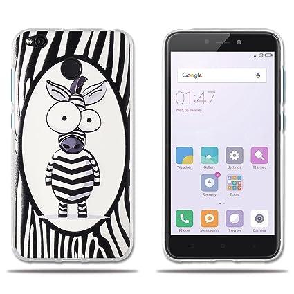 FUBAODA Fundas Xiaomi Redmi 4X, Carcasas Gel de TPU Silicona Simpatic Cebra de Dibujos Animados, Carcasa Completamente Resistente para Xiaomi Redmi 4X ...
