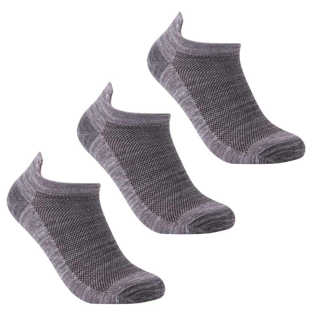 luccalilyユニセックスヒールタブMoisture Wickingローカットカジュアルスポーツ靴下1 , 3ペア B07B8Q7WY1 Large|3 pair gray 3 pair gray Large