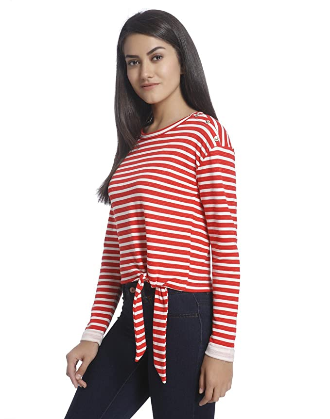Free Shipping Pay With Paypal Womens Onlamy L/S Short Stripe Knot SWT Sweatshirt Only Free Shipping Choice 0bSoL