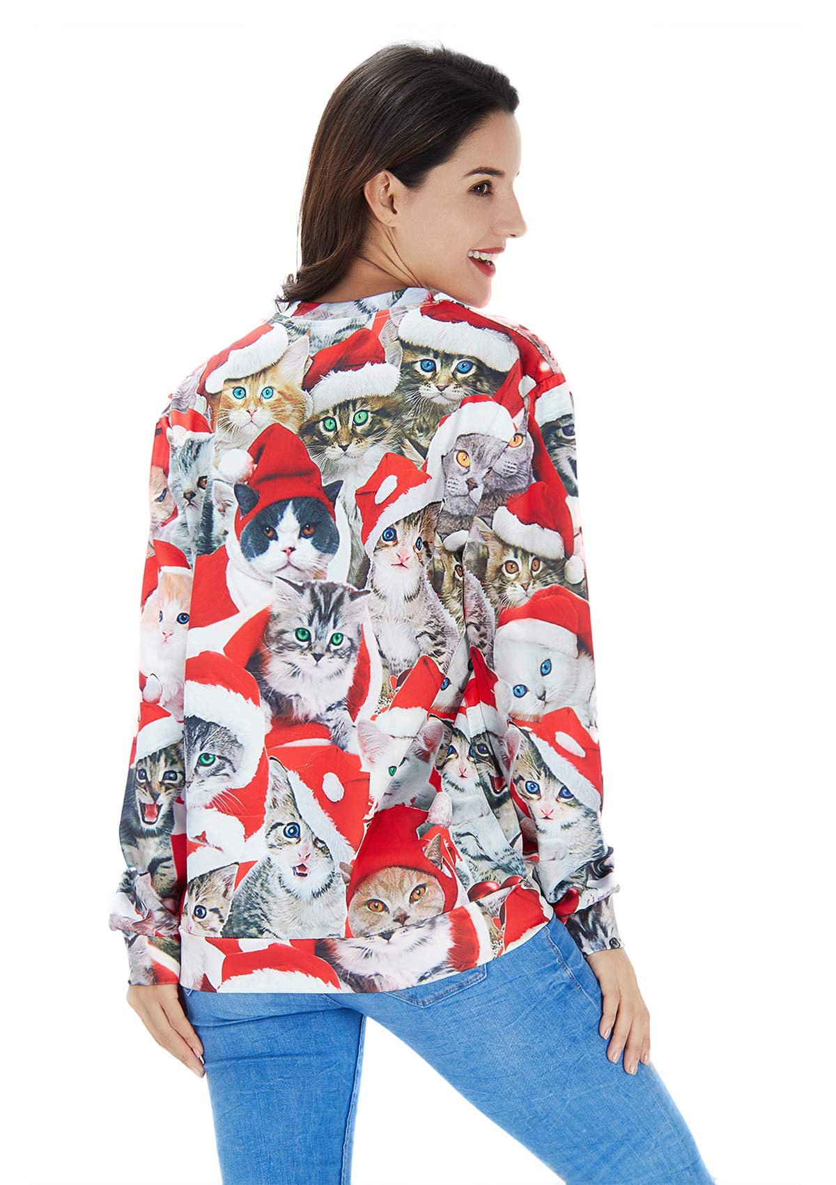 RAISEVERN Unisex Lustige hässliche Weihnachten Cat Print Hipster Neuheit Pullover Pullover Sweatshirt für Damen Herren