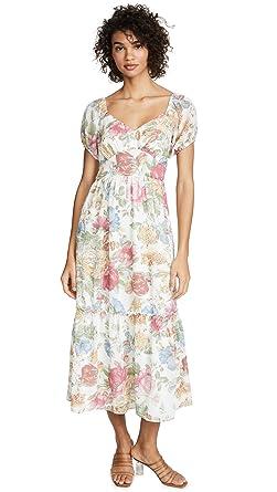 dbbd9ce9ec4741 WAYF Women's Tanya Ruffle Hem Maxi Dress, Ivory Vintage Floral, X-Small