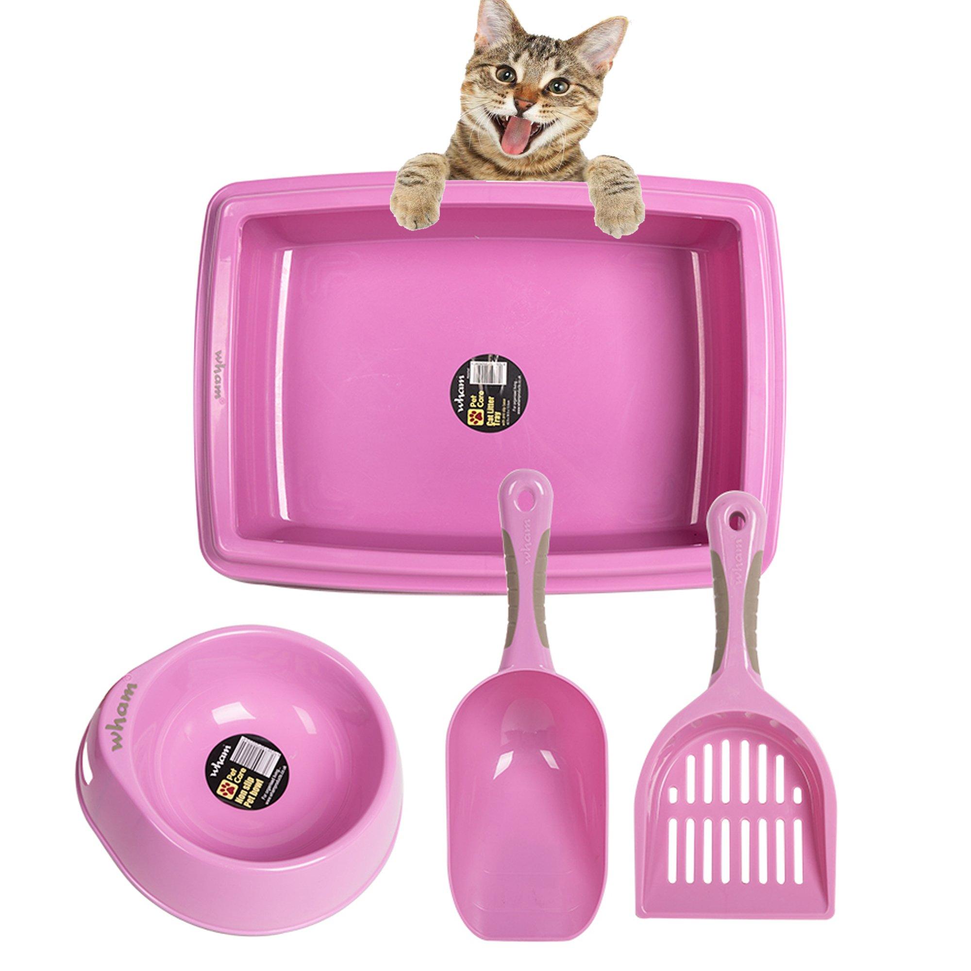 Lucky Tree 4 Color Cat Litter Pan Litter Box Plastic Cat Food Bowl with Scoop Shovel, 4Pcs Pet Supplies Set for Cats